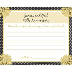 60 Personalized 50th Anniversary Memory and Wishes by partyplace, $17.50