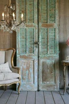 Creative uses for old shutters - Christinas AdventuresYou can find Old shutters and more on our website.Creative uses for old shutters - Christinas Adventures Vintage Shutters, Diy Shutters, Repurposed Shutters, Decorating With Shutters, Vintage Doors, Bedroom Shutters, Salvaged Doors, Vintage Door Decor, Distressed Shutters