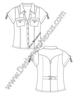 V75 Short Sleeve Blouse Top Flat Fashion Sketch