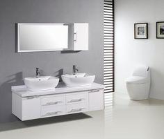 meuble double vasque blanc dans la salle de bains de design moderne - Doubles Vasques Design