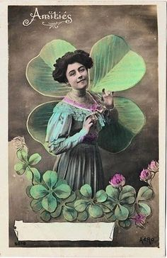 Lovely Victorian Card w/ 4 Leaf Clovers - The Graphics Fairy