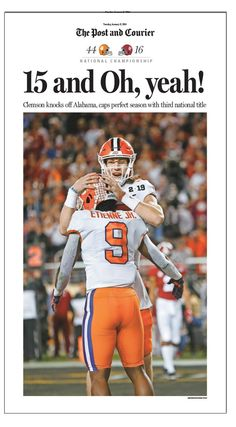 The Post and Courier Clemson NCAA 2018 National Football Championship Front Page Poster 2 – Post and Courier Store Clemson Football, Clemson Tigers, Auburn Tigers, College Football, Clemson Quarterback, Auburn University, Arkansas Razorbacks, National Championship, Exotic Birds