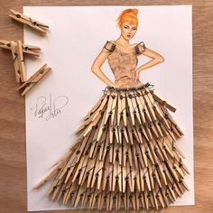 Dress made out of clothes pins by Edgar Artis