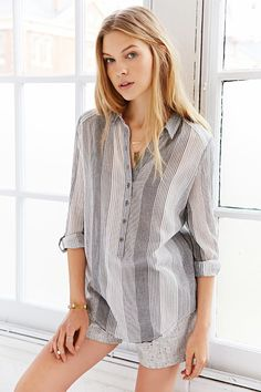 BDG Rumpled Popover Shirt - Urban Outfitters