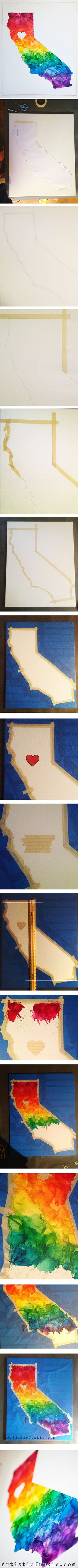 California Love- State Shaped Crayon Art. Full DIY tutorial on how to make with any state!