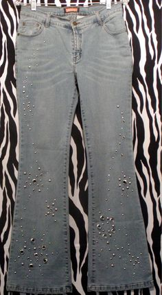 Stretchy And Flashy Vintage Jeans: five pockets, five belt loops, front with a zip fly. SOFT and REALLY STRETCHY. Silver studs and grommets and crystals. Vintage Jeans, Vintage Outfits, Vintage Designer Clothing, Rust Color, Light Denim, Light Blue, Legs, Cotton, Style