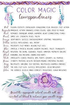 Color Magic Correspondence | Wayward Inspiration Green Witchcraft, Magick Spells, Candle Spells, Witchcraft For Beginners, Baby Witch, Color Magic, Color Meanings, Candle Magic, Witch Spell