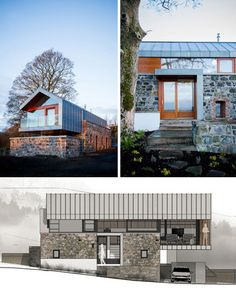 A gorgeous fusion of old and new, this dwelling incorporates historic stone walls already on the building site, tapping into the leftover structural walls and foundation of a bygone barn. In this project by McGarry-Moon Architects (images by Adam Currie) Old Stone Houses, Stone Barns, Modern Barn, Modern Farmhouse, Residential Architecture, Architecture Design, Landscape Architecture, Renovation Design, Great Buildings And Structures
