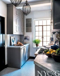 Michelle Smith of Studio MRS Interiors Welcomes Us Into Her Greenwich Village Home - New York Cottages & Gardens - March 2014 - New York, NY. Kitchen Cabinetry, Kitchen Dining, Kitchen Kit, Kitchen Grey, Wall Cabinets, Grey Cabinets, Kitchen Ideas, Beautiful Kitchens, Cool Kitchens