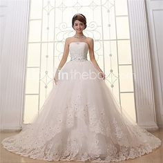 Ball Gown Wedding Dress Cathedral Train Strapless Lace / Satin / Tulle with Appliques / Lace / Pattern - USD $119.99 ! HOT Product! A hot product at an incredible low price is now on sale! Come check it out along with other items like this. Get great discounts, earn Rewards and much more each time you shop with us!