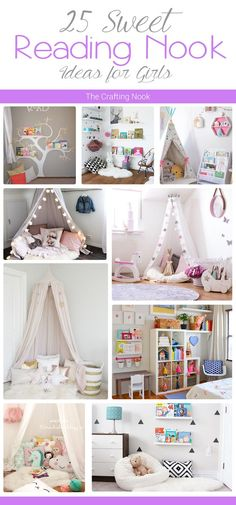 Are you a book lover? Love a special place or spot to read? Your kids too? Come and check out these 25 Sweet Reading Nook Ideas for Girls!!! Popular Pins!