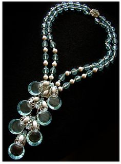 Necklace | Miriam Haskell. 'Waterfall'. Pale aqua faceted beads and faux pearls, culminating in a long cascade of embellished faceted crystal discs. ca. 1960/70s