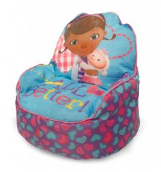 Doc McStuffins Bean Bag - Cool Stuff to Buy and Collect Doc Mcstuffins Bed, Doc Mcstuffins Birthday Party, Bean Chair, Bean Bag Sofa, Sofa Chair, Baby Dolls For Kids, Toys For Girls, Girl Toys, Toddler Bean Bag Chair