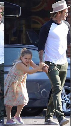Leaving dinner with daddy [ Harper Seven Beckham ]