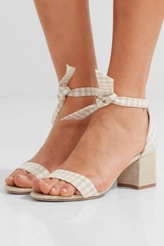 Heel measures approximately 60mm/ 2.5 inches Beige and white gingham, beige canvas Ties at ankle Imported