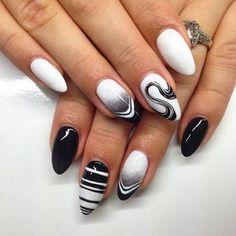 manucure blanche, deco ongle en lignes droites et spirales noires