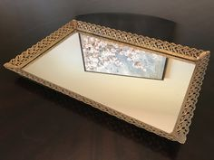 Vintage Mirror Vanity Tray with Gold Floral Filigree by BazemoreVault on Etsy