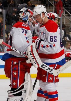 Braden Holtby celebrates with Andre Burakovsky of the Washington Capitals after a win over the Pittsburgh Penguins Hockey Baby, Soccer, Washington Capitals Hockey, Braden Holtby, Stanley Cup Champions, Sports Stars, Pittsburgh Penguins, Hockey Players, Espn