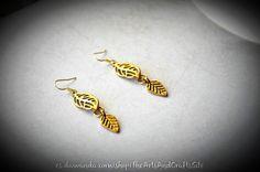 Pendientes con conjunto de hojas en oro de Arts&Crafts por DaWanda.com
