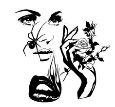 Dibujos Tattoo, Desenho Tattoo, Outline Drawings, Pencil Art Drawings, Black And White Drawing, Black And White Illustration, Tattoo Sketches, Tattoo Drawings, Pencil Art Love