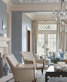 A Beautifully Done Living Room In Navy With Blue And White Chinoise
