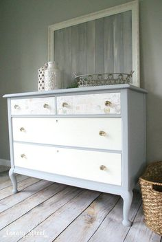Paris Grey And White Dresser Canary Street Crafts Paris Grey And White Dresser Canary Street Crafts Christy K James Confessions of a Serial Do-it-Yourselfer christykjames Hometalk nbsp hellip makeover decoupage Decoupage Furniture, Grey Furniture, Repurposed Furniture, Vintage Furniture, Painted Furniture, Furniture Ideas, Decoupage Shoes, Furniture Design, Furniture Buyers