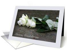 white roses spanish sympathy card