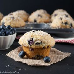 BAKERY STYLE BLUEBERRY STREUSEL MUFFINS. A buttery, soft and fluffy muffin that's loaded with juicy blueberries and topped with a crunchy sweet cinnamon streusel on a sky-high muffin top. You must try this recipe!