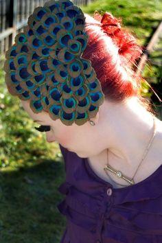 China Doll Peacock fascinator by JadeRoseDesigns on Etsy