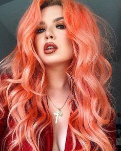 Peach Hair Colors, Coral Hair, Hair Dye Colors, Cool Hair Color, Peachy Pink Hair, Bright Hair Colors, Colorful Hair, Grey Hair, Rainbow Hair Colors