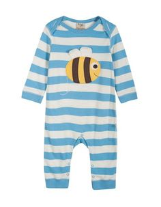 Frugi - Organic Cotton - Charlie Romper - Cornish Blue Natural Chunky Stripe - Bee - Baby Gift Works  - 1