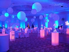 balloons from the ceiling - glow event balloon ceiling treatment