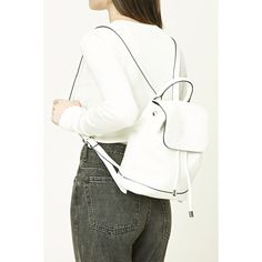 Forever21 Faux Leather Flap-Top Backpack ($25) ❤ liked on Polyvore featuring bags, backpacks, white, white backpack, forever 21, drawstring backpack, forever 21 backpacks and faux leather backpack