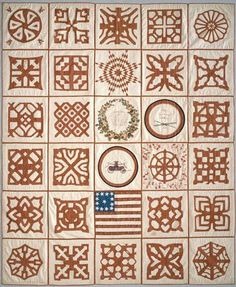 An 1853 quilt made to benefit fire fighting efforts in South Reading, Massachusetts, at the National Museum of American History
