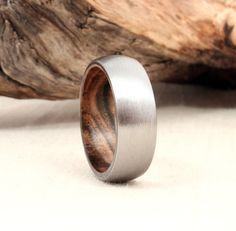 Titanium Lined with Pistachio Wood Ring Titanium by WedgewoodRings, Pretty Rings, Beautiful Rings, Wooden Jewelry, Unique Jewelry, Wedding Bands, Wedding Fun, Dream Wedding, Wedding Ideas, Titanium Rings