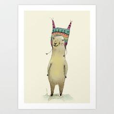 Llama Art Print by Paola Zakimi - $16.00