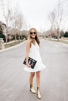 White Tuxedo Mini Dress spring street style 2017 T&J Designs Riley Versa gold metallic Gucci boots... - Total Street Style Looks And Fashion Outfit Ideas