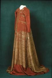 The remains of the original golden gown of queen Margareta, dated early 15th century