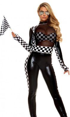 Sexy Racer Girl Mesh   Vinyl Catsuit Costume 3df975a45