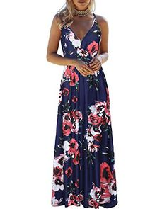 Dress for Women Maxi Dress Stripe Butterfly Printed Robe Summer Casual Sleeveless V-Neck Vintage Pockets Daily Tall Sundress