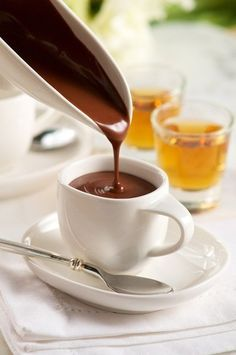 Sweetheart Sipping Hot Chocolate (for Grownups) in Recipes on The Food Channel® Italian Chocolate, Café Chocolate, Hot Chocolate Recipes, Chocolate Lovers, Chocolates, K Cup Coffee Maker, My Favorite Food, Favorite Recipes, Espresso Drinks