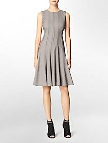 pattern seamed fit + flare sleeveless dress $109.50