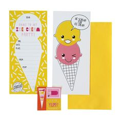ICE CREAAAAM PARTY!!! 12Pk Super Cute Ice Cream Party Invitations. mymessyroom.com.au