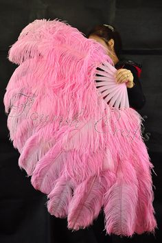 Pink Large Double Layer Ostrich Feather Fan by lawrencelv on Etsy, $129.00