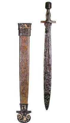 sword found in a grave in italy, dated back to the 5th century.  Schwert aus einem Grab in Italien, datiert auf das 5. Jahrhundert. Ancient Rome, Ancient Greece, Ancient Art, Swords And Daggers, Knives And Swords, Sea Peoples, High Middle Ages, Viking Sword, Sword Design
