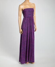 Love this Purple & Navy Strapless Maxi Dress by Hourglass Lily on #zulily! #zulilyfinds