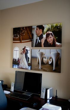Things to do with your wedding photos after the wedding.. Frame them, get a digital picture frame to display all your fav wed pics w/o looking obsessed, make a photo book (Picaboo), small one for coffee table, formal one for shelf, use pics for Thank You and Christmas cards for that year, give as gifts with guests in the pics, use as art (pictured above), share them online!
