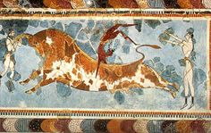 """""""Bull leaping"""" fresco (painted plaster) from a wall of the Palace at Knossos, the Great Goddess Sanctuary in the Labyrinth, Crete, showing the members of a bull leaping team at work. 17th-15th centuries BC. Height of restored fresco 78.2 cm."""