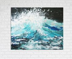 Great Wave Ocean Painting Art Acrylic Original // by KatieJobling