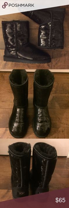 Uggs Boots - Black Sequins/Sparkly No loose/missing sequins. In great condition. Size 7.  Will consider reasonable offers!  Will offer private discounts on bundles! UGG Shoes Ankle Boots & Booties